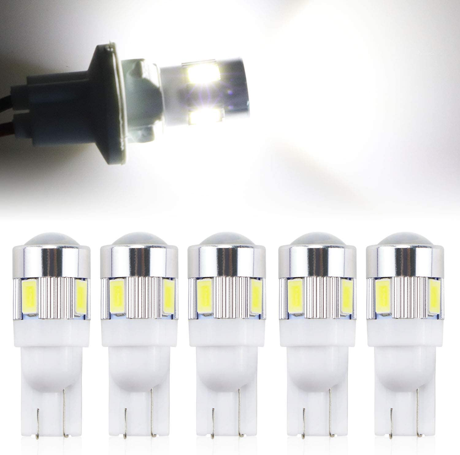 T10 194 168 LED Bulbs Xenon White 6000k for Car Interior Dome Map Door Courtesy Cab Maker License Plate Lights W5W 2825 Pack of 5
