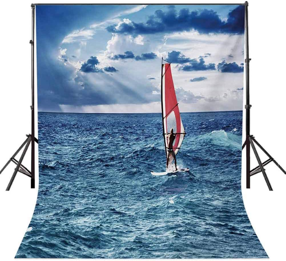 Ride The Wave 10x12 FT Backdrop Photographers,Windsurfer in The Sea Exotic Adventure Happy Summer Beach Challenge Picture Background for Party Home Decor Outdoorsy Theme Vinyl Shoot Props Night Blue