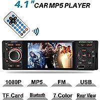 Touchscreen Autoradio Bluetooth MP5, MEKUULA USB/Receiver mit Audio Empfänger/MP5-Player/UKW/FM Radio für Samsung/iPhone, USB/TF/AUX Freisprechfunktion und integriertes Mikrofon PKW Radio