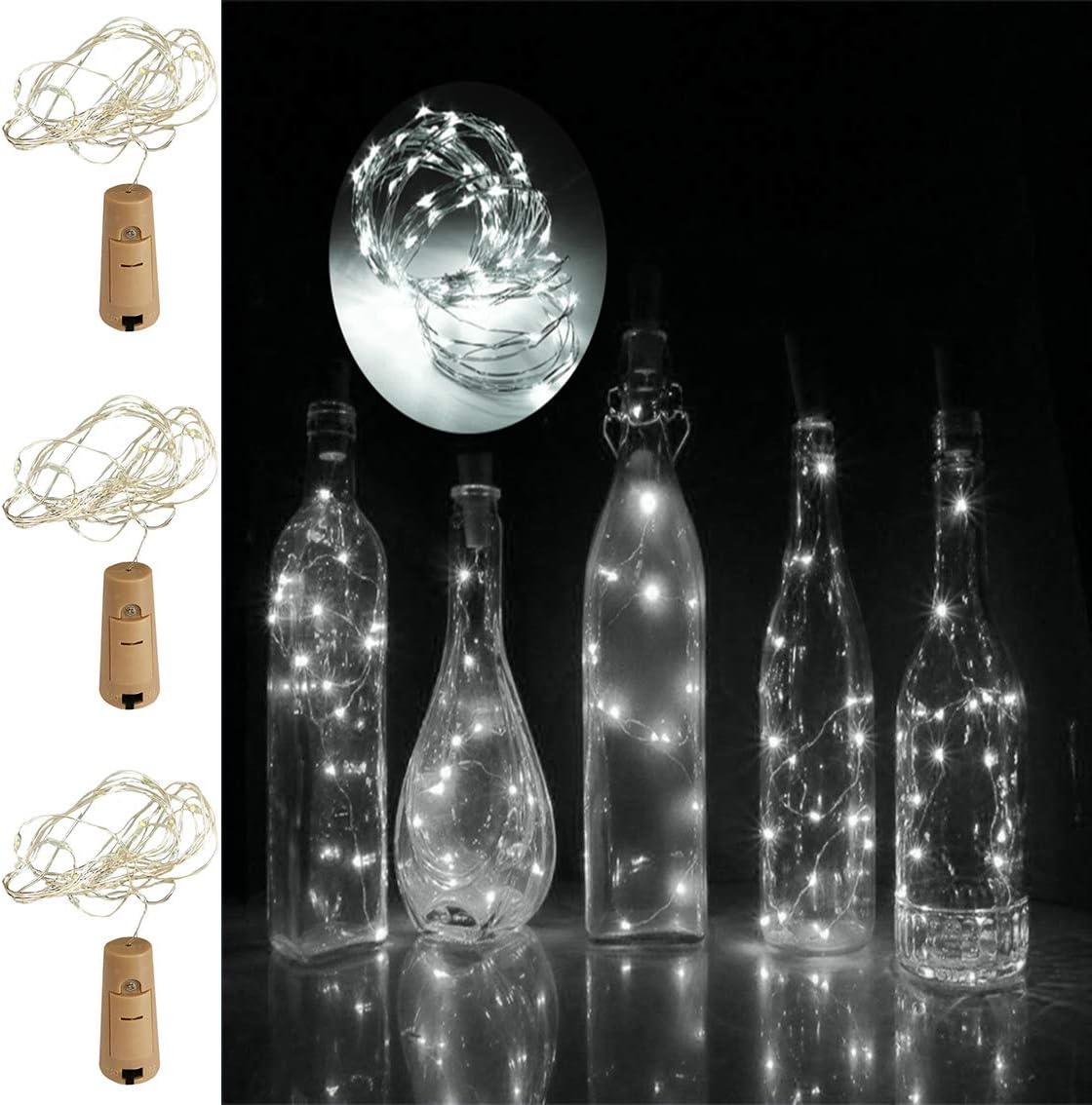 PeiQila - Luces LED para Botella de Vino con Corcho, Funciona con ...