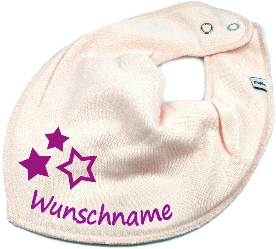 HALSTUCH BLUMEN mit Namen oder Text personalisiert dunkelblau f/ür Baby oder Kind