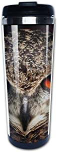 Yunshm Bird Eyes Eagle Owl View Animals Coffee Travel Mug Coffee Cups with Lids Stainless Steel Insulation Cup for Men Women Customized
