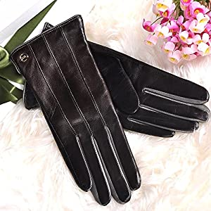 ELMA Winter Super Warm Nappa Leather Gloves Cashmere Lining Gold Plated Logo (L, Brown)