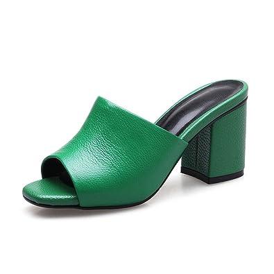 Mule Bloc Cuir Talon Souple Hauts En Femme Pu Chaussure Sandale Mode vm80OwynN