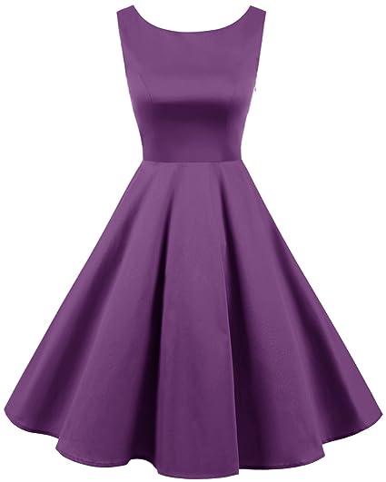 Bridesmay Donna Anni  50 Stile Abito Retro Elegante Cocktail Vestiti Purple  L 2374cc67aa4