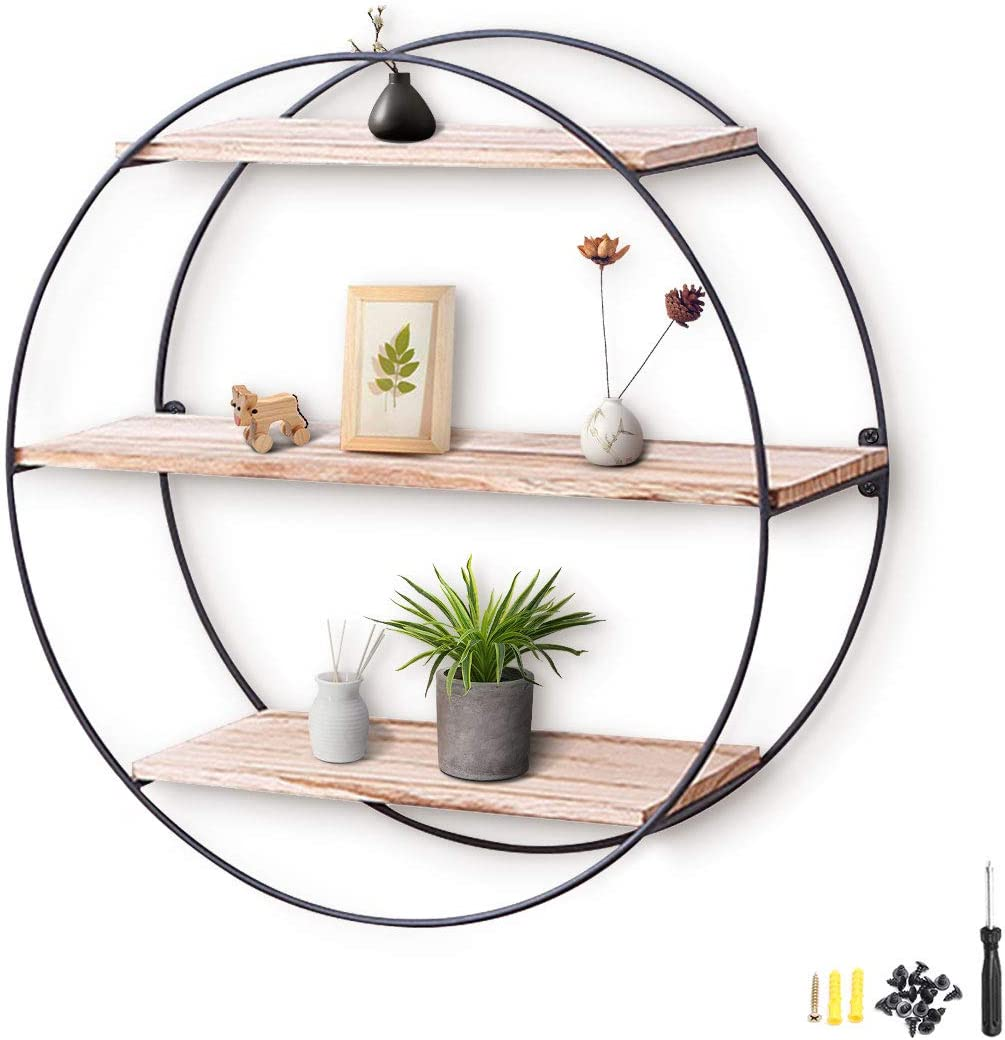 KINGSO Wall Shelf Rustic Wood Floating Shelves,Decorative Wall Shelf for Bedroom, Living Room, Bathroom, Kitchen, Office and More (Round): Home & Kitchen