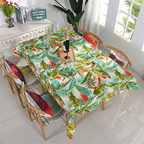 XINRJY Canvas Tablecloth License Plate and Leaf Print Waterproof Coffee Table Cloth K 140X180cm/55X71in
