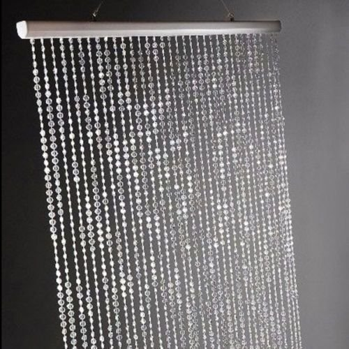 3 ft x 6 ft Iridescent Faux Crystal Beaded Curtain - Clear by Dpnamron