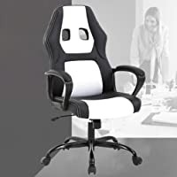 Home Office Chair Ergonomic Executive PU Leather Gaming Chair, Rolling Metal Base Swivel Racing Chair with Arms Lumbar Support Computer Chair for Women, Men