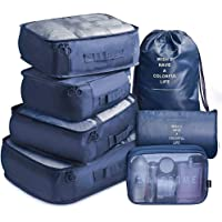 7 Pack Packing Cubes Value Set for Travel Luggage Organiser Bag Compression Pouches Clothes Suitcase Packing Organizers Set with Toiletry Bag (Blue)