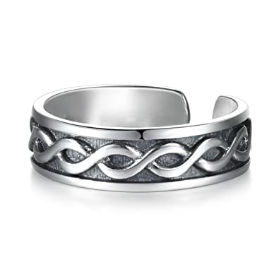 78468a6fad9f0 LYTOPTOP Women 925 Sterling Silver Thumb Ring Celtic Irish Knot ...