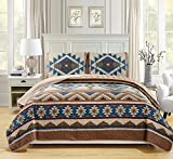 Western Southwestern Native American Tribal Navajo Design 3 Piece Multicolor Beige Taupe Brown Blue Green Oversize Bedspread Quilt Coverlet Set (Queen)