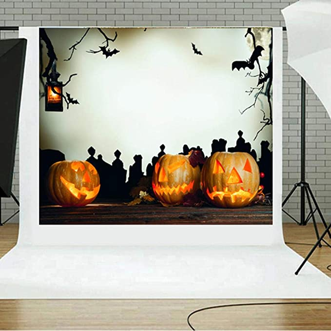 VEMOW Halloween Party Dekoration Kulissen Kürbis Vinyl 5x3FT Laterne ...