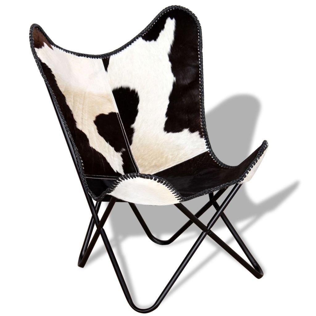 vidaXL–Sedia Farfalla Pelle di mucca vera mobili da salotto nero e bianco