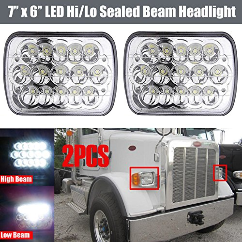 Sealed High Low Beam Rectangle 45W for Peterbilt 365 2008-2017 OEM Replace H6014 H6052 H6054 6054 H4 Plug Truck Headlights Assembly Pair ()