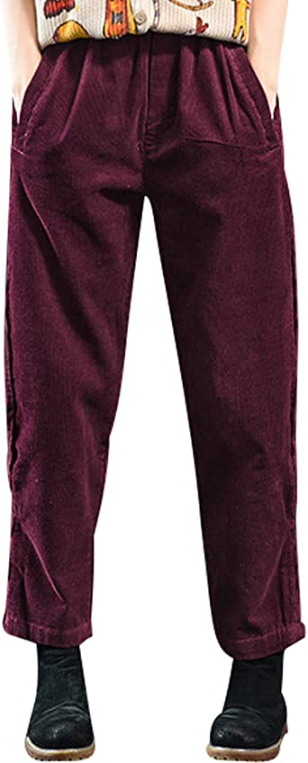 Bigassets Mujer Cintura Alta Pantalones Harem Pantalon De Pana Con Bolsillos Amazon Es Ropa Y Accesorios