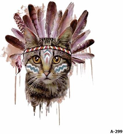 WYUEN 5 hojas de acuarela gato tatuaje impermeable temporario ...