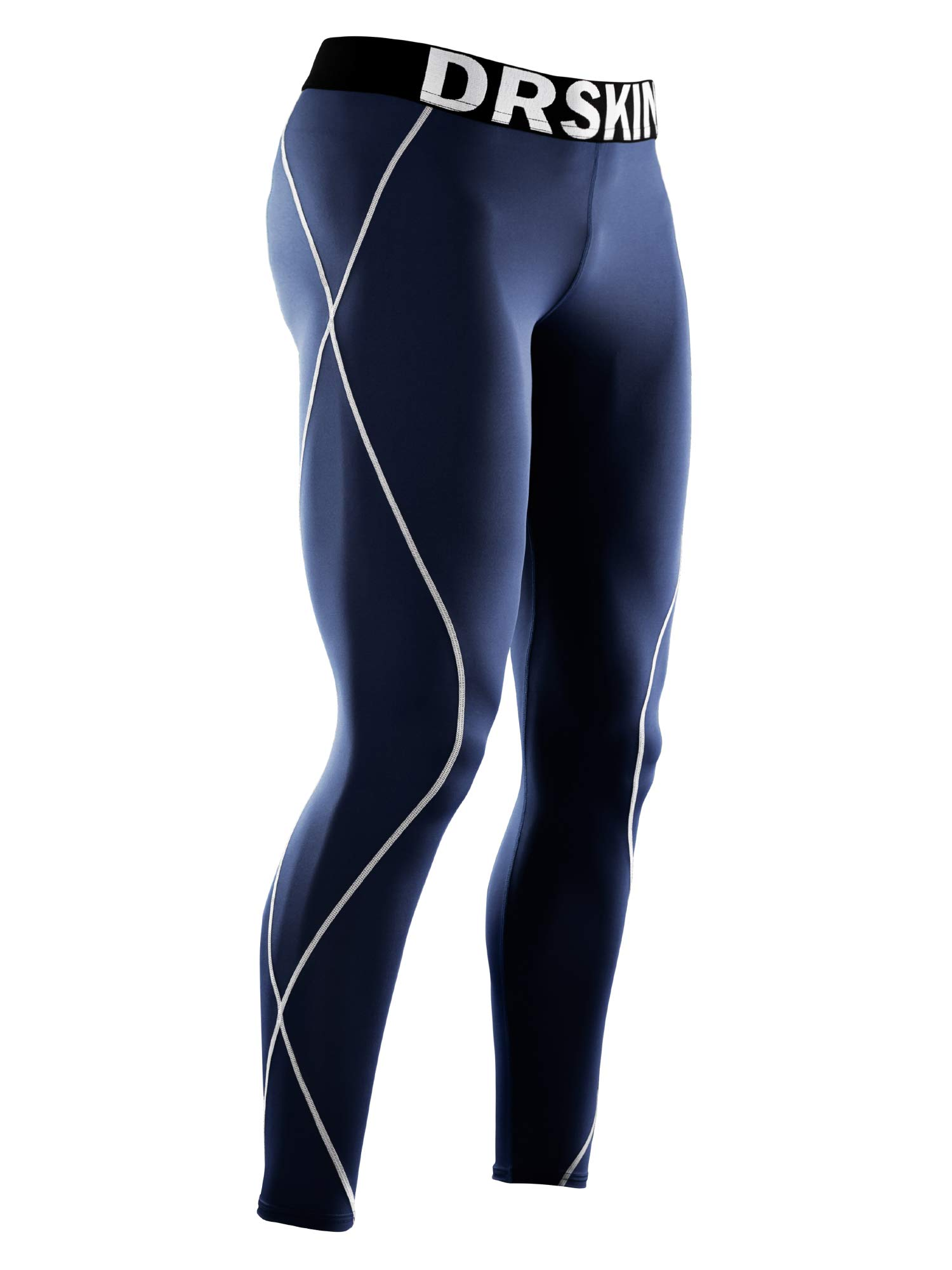 DRSKIN Compression Cool Dry Sports Tights Pants Baselayer Running Leggings Yoga Rashguard Men (DN02, 3S) Navy by DRSKIN