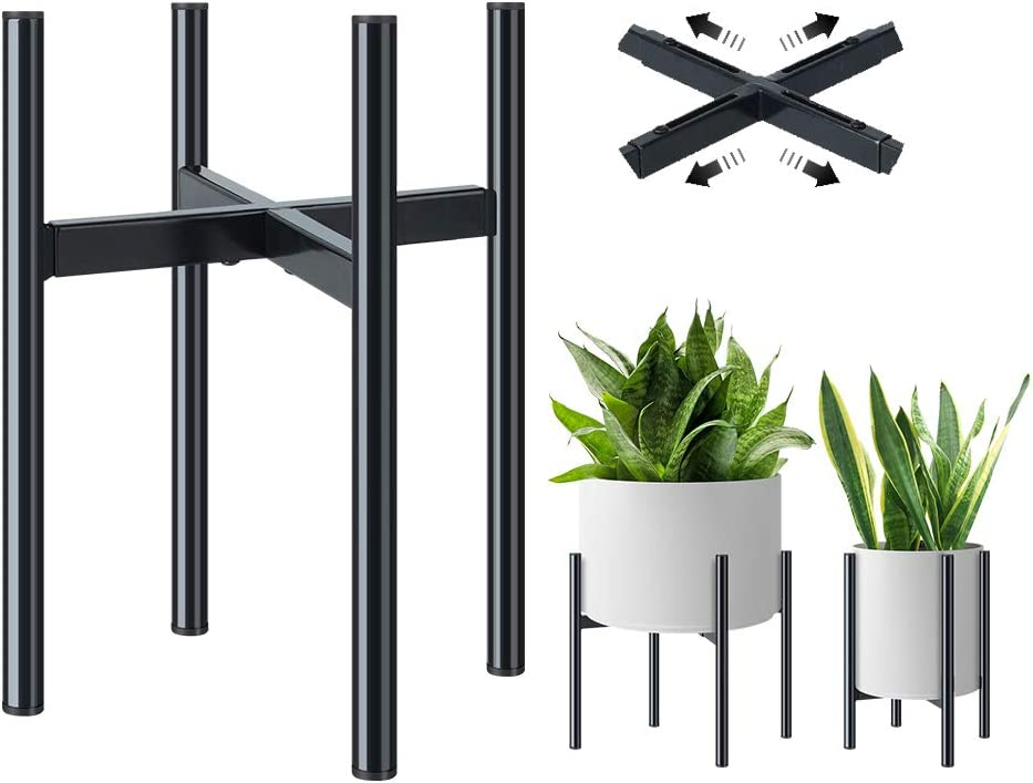 Plant Stand - Metal Plant Holder Adjustable for 8-12 inches Plant Pot (not Included), Mid Century Stable & Stylish Indoor Display Plant Pot Stand for Indoor & Outdoor Plant Decoration-1 Pack