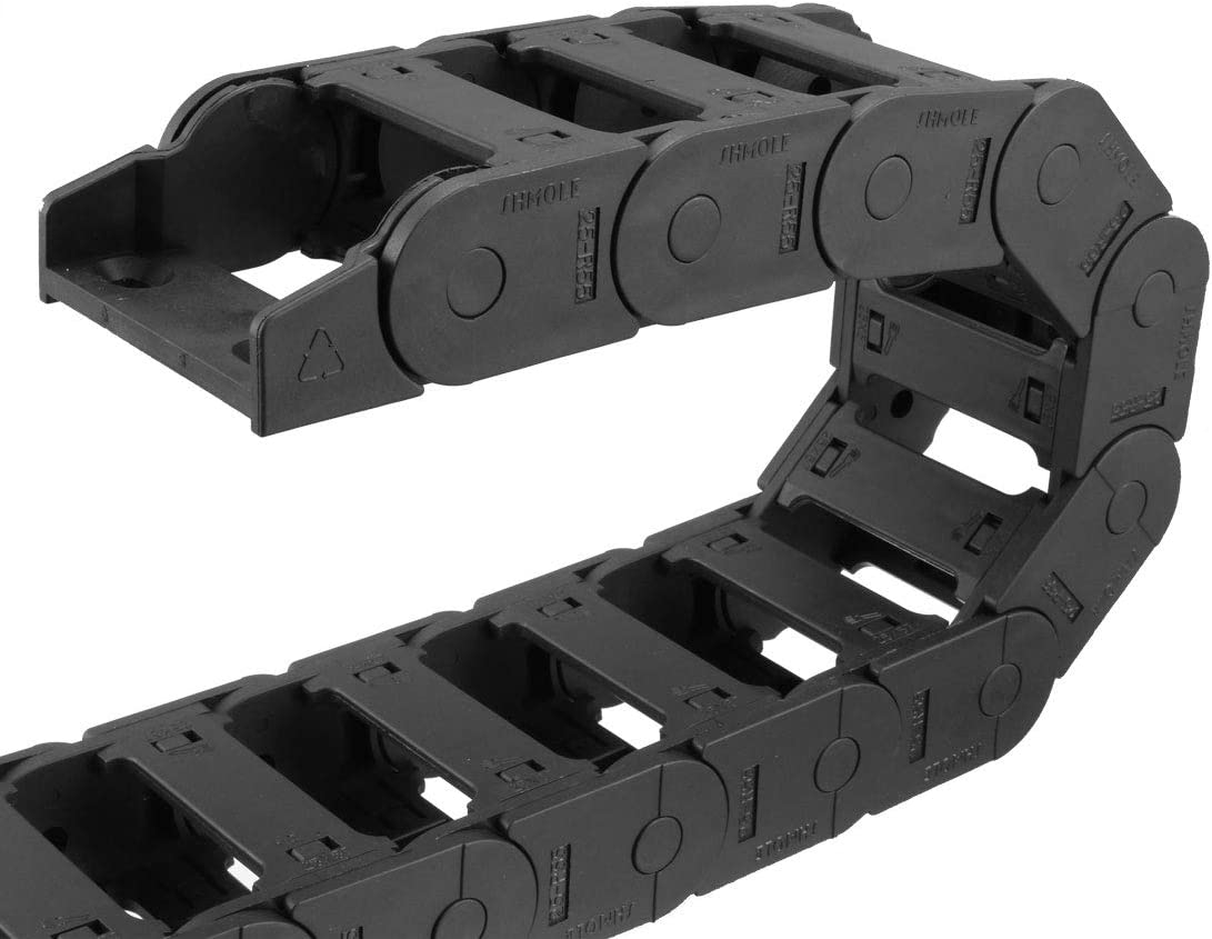 sourcing map Drag Chain Cable Carrier Open Type with End Connectors R100 35X100mm 1 Meter Plastic for Electrical CNC Router Machines Black