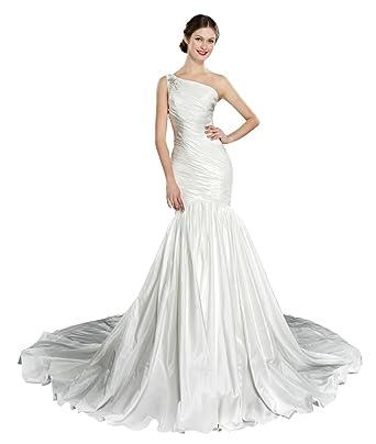 c36964ebcac COLOREDRESS One Shoulder Taffeta Mermaid Wedding Dress at Amazon ...