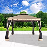 Cloud Mountain Garden Gazebo Polyester Fabric 130'' x 130'' Patio Backyard Double Roof Vented Gazebo Canopy With Mosquito Netting, Sand