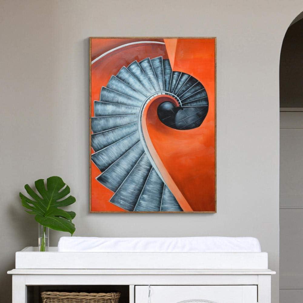 Mural de pared Murales murales de sala de estar Pintura decorativa del dormitorio _ Pintura decorativa nórdica moderna escalera de caracol moderna minimalista dormitorio@Figura 1_Marco de fotos de madera vintage de 50X70