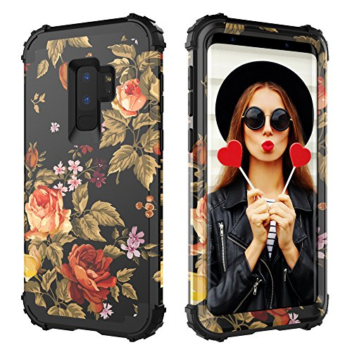 Digital Hutty 3 in 1 Shockproof Heavy Duty Full-Body Protective Cover for Samsung Galaxy S9 Plus 2018 Release Flower