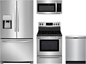 "Frigidaire 4-Piece Kitchen Appliance Package with FFHB2750TS 36"" French Door Refrigerator FFEF3054TS 30"" Freestanding Electric Range FFMV1645TS 30"" Over-the-Range Microwave and FFCD2418US 24"" Full Console Dishwasher in Stainless Steel"