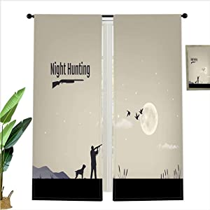 SfeatrutMAT Window Drapes SoSung Process of Hunting for Ducks in The Night Reeds Marsh Full Moon Stars Decorative Decor Light Blocking Curtains for Living Room,W52 x L63