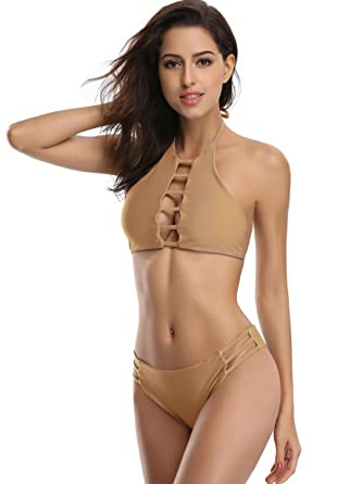 ee29f22148b3b Amazon.com: SHEKINI Womens Hollow Out Strappy Reversible Padded High Neck  Halter Bikini Two Piece Swimsuit: Clothing