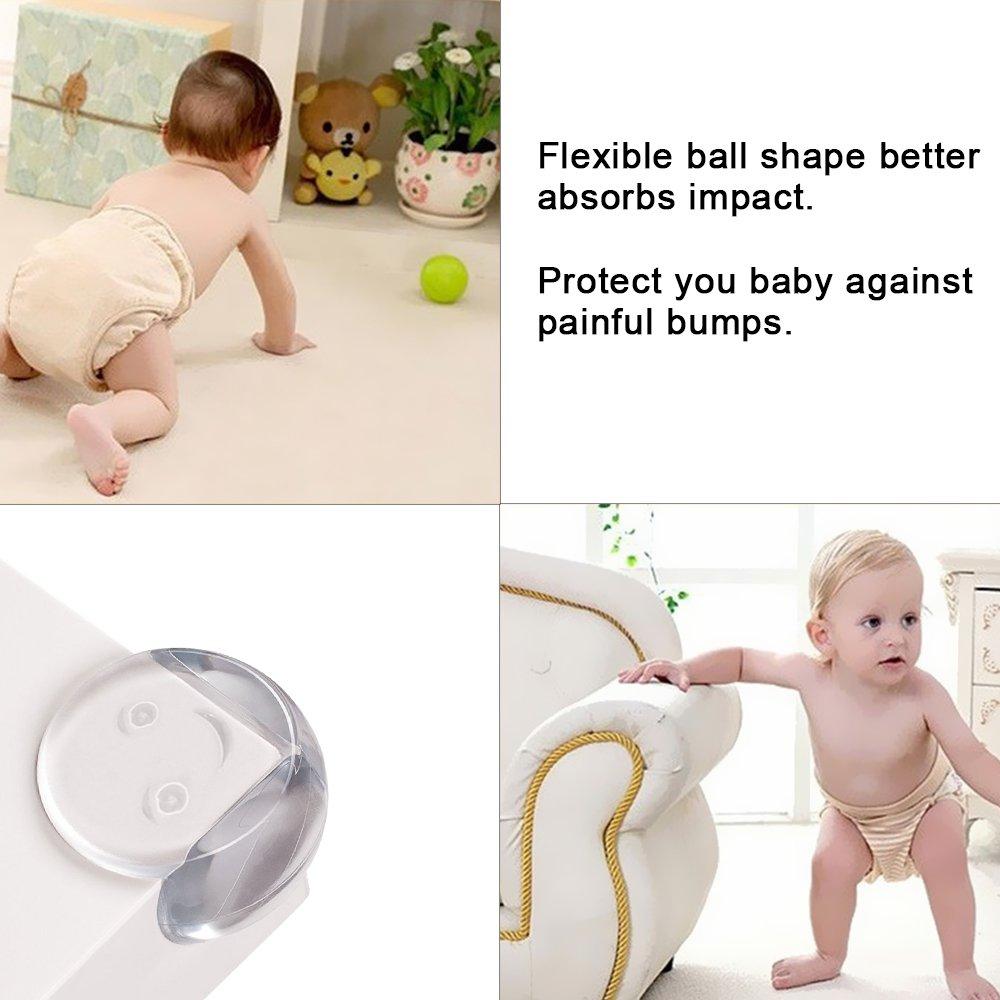 Protector de esquinas 25PCS,JVMAC Bordes Protección para bebés y niños Seguridad Infantil Protector Esquinas protección Protección Redonda para mesa y ...