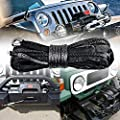 3/8 Inch x 95' GRAY Synthetic Winch Line Cable Rope 20000LBs+ Sheath Thimble Recovery Replacement ATV UTV Truck Boat