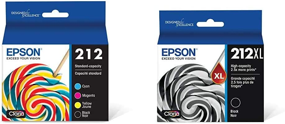 Epson T212 Claria Standard Capacity Cartridge Ink - Black and Color Combo Pack & T212XL120 Expression Home XP-4100 4105 Workforce WF-2830 2850 212XL Ink Cartridge (Black) in Retail Packaging