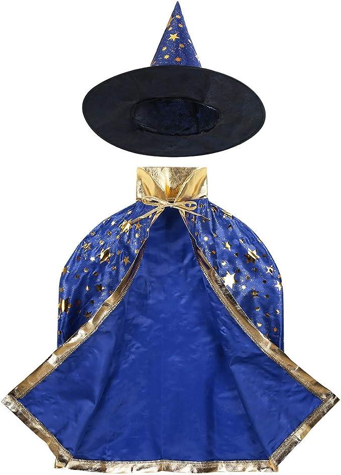 ranrann Capa de Bruja para Niña Niño Brillante Abrigo de Estrella ...