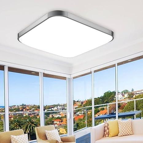 ETiME® LED Deckenleuchte 65x65cm Deckenlampe Kaltweiß Modern Lampe LED  Leuchte für Wohnzimmer Schlafzimmer Küche Panel 6000K Silber (65x65cm 64W  ...