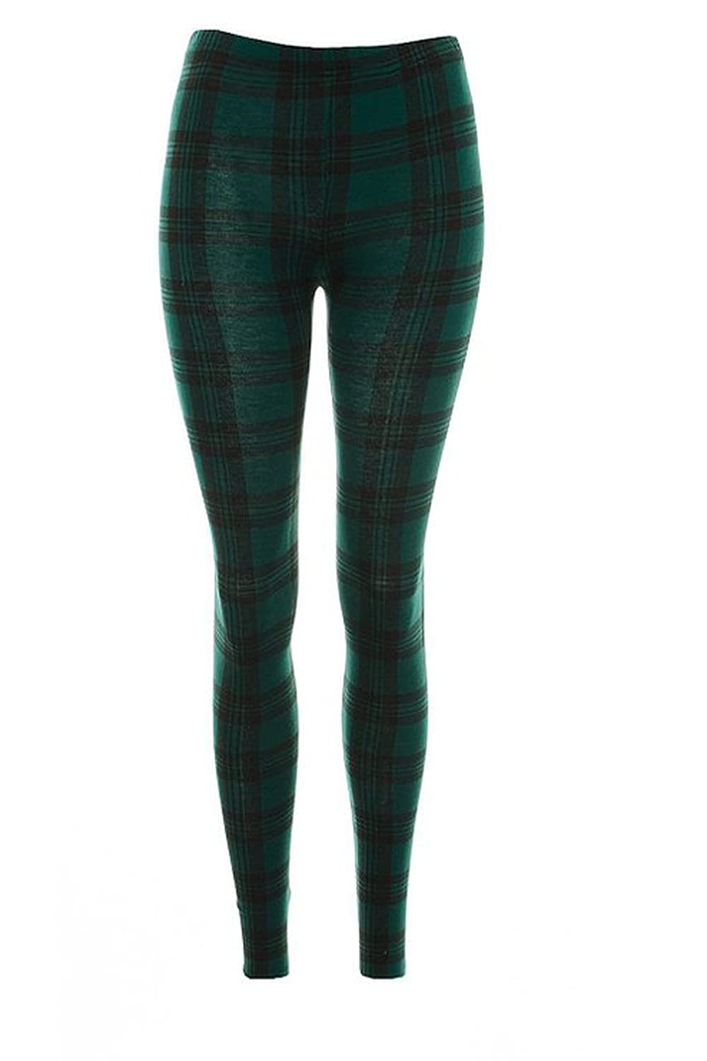 Girls Walk Girls Kids Full Length Check Tartan Print Stretchy Leggings Pant