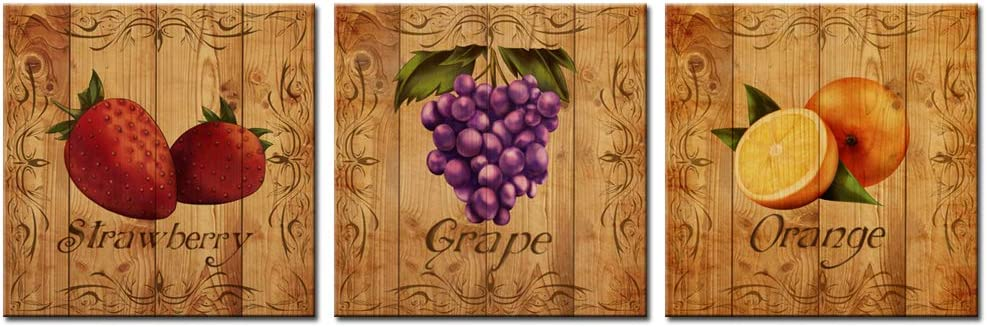LevvArts Fruit Canvas Wall Art for Kitchen Strawberry Grape Orange Painting on Canvas Print Stretched and Framed Vintage Wood Style Artwork for Home Dining Room Decorations (12x12inchesx3pcs)
