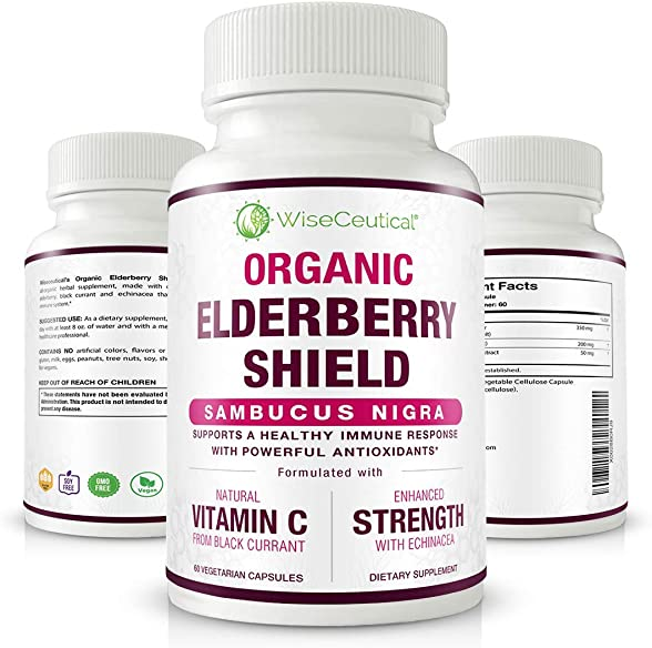 Organic Black Elderberry Sambucus Nigra with Black Currant Extract and Echinacea. 60 Count Non-GMO, Sugar-Free, Natural Immune System. for Healthier Lungs. Homeopathic Remedy for Cold Relief