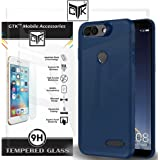 TheGiftKart Infocus Vision 3 Back Cover + Tempered Glass - Imported Rubberised Matte Finish Soft Back Cover (Navy Blue) + HD Tempered Glass
