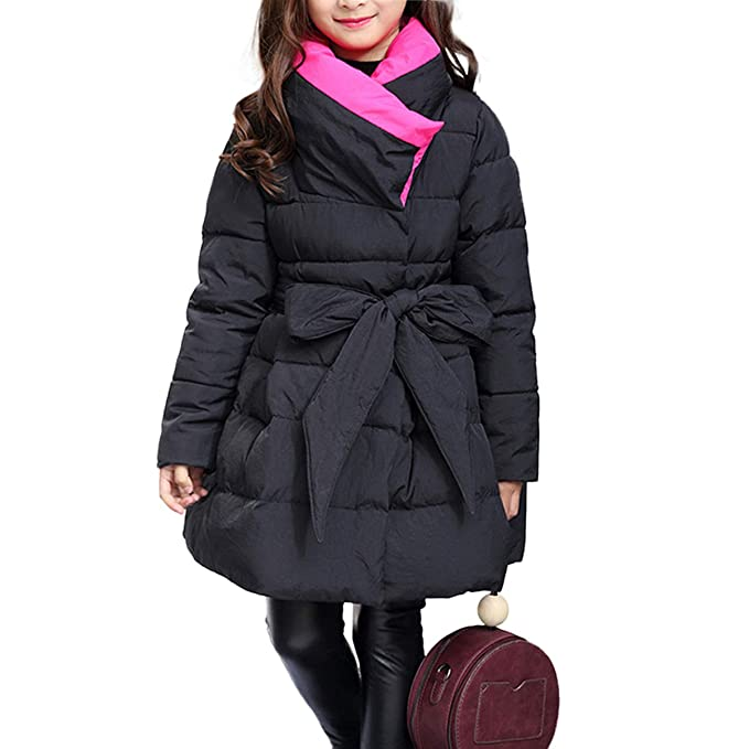 d824fc064ce6 CNMUDONSI Winter Coats for Girls Parka Long Padded Bubble Puffer Jacket  Belted Fashion Outwear 6-