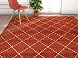 Cheap Well Woven Non-Skid/Slip Rubber Back Antibacterial 5×7 (5′ x 7′) Diamond Lattice Print Red Thin Low Pile Machine Washable Indoor Outdoor Area Rug