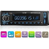 Radio de Coche, Arespark Autoradio Bluetooth Reproductor MP3 para Automóvil FM Estéreo Radio Manos Libres Audio USB/TF(Micro SD) AUX EQ Memoria de Apagado, Enchufe ISO, Buen Efecto de Sonido.
