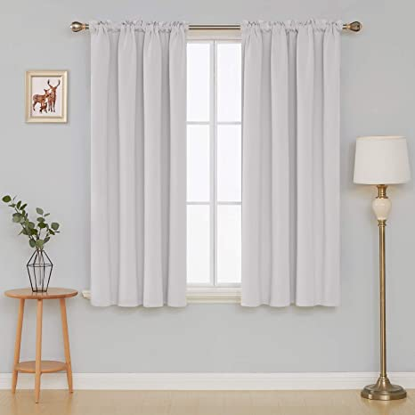 Deconovo Solid Color Light Blocking Curtains Rod Pocket Panels Thermal Insulated Blackout For Dining Room