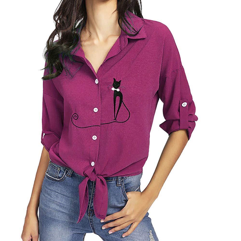 Yesmile Mujer Camisetas❤️Las Mujeres Camisa Camisa de Dobladillo Anudada del Gato del Gato Bordado de Las Mujeres Blusas de botó n de la Blusa de Manga Larga
