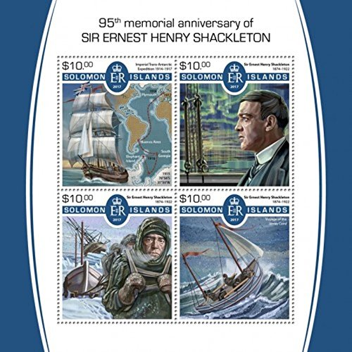 Solomon Islands - 2017 Ernest Shackleton - 4 Stamp Sheet - SLM17512a (Solomon Stamps Islands)