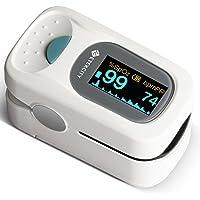 Etekcity PulsiOxímetro de Dedo y Monitor de Frecuencia Cardíaca con Pantalla OLED, Alarma y Función de Auto-Apagado, Funda, Baterías…