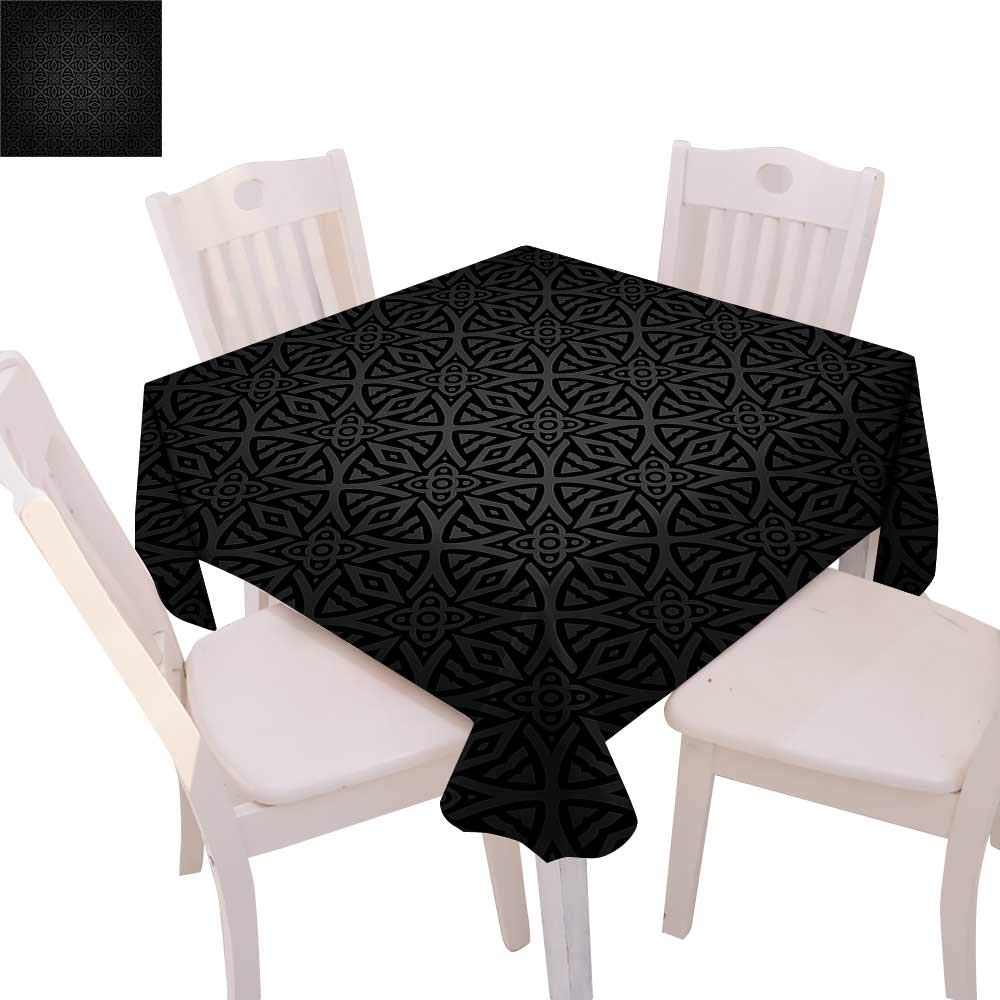 "cobeDecor Dark Grey Stain Resistant Wrinkle Tablecloth Medieval Folkloric Ornament Celtic Pattern Vintage Style Abstract Floral Circles Square Wrinkle Resistant Tablecloth 36""x36"" Black Grey"