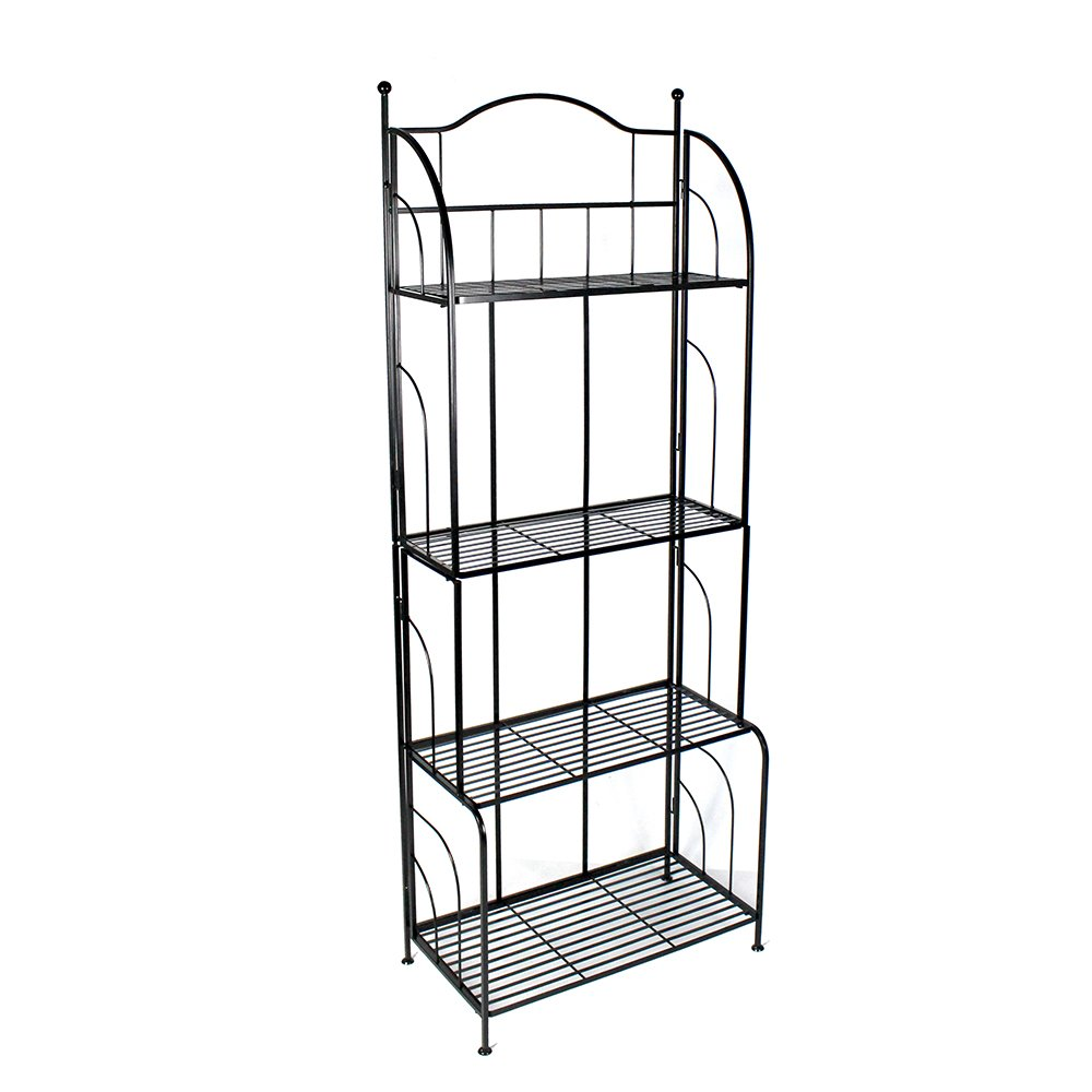 PAO MOTORING 4-Tier Metal Bakers Rack Storage Kitchen Metal Baker Organizer Shelves, Black