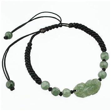 BRACELET noir et PIXIU en JADE vert - Symbole Feng Shui de Richesse et  Protection - 1594a298cace